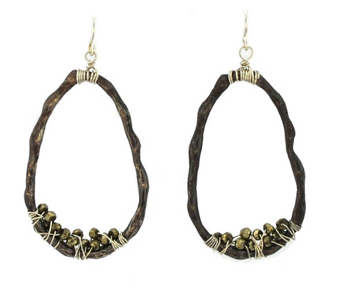 Mabel Chong: ORGANIC BAMBOO HOOPS in Oxidized Sterling Silver