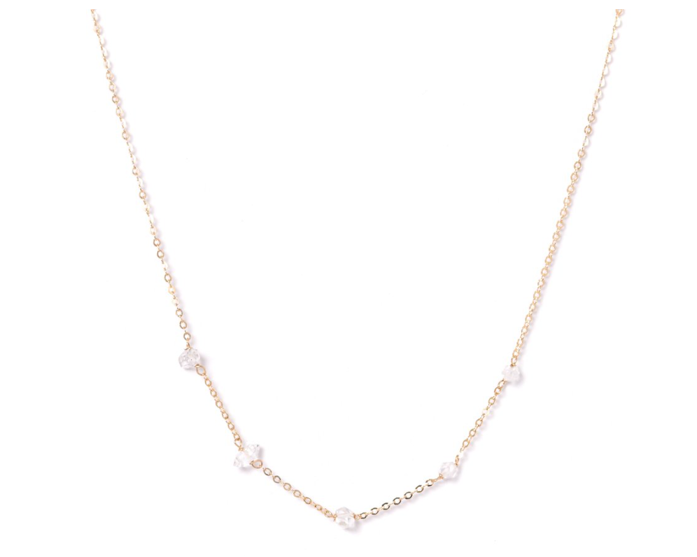 Kozakh: CINQ HERKIMER NECKLACE in 14K GOLD FILLED