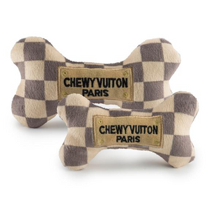 Checker Chewy Vuiton Bone Dog Toy - XL