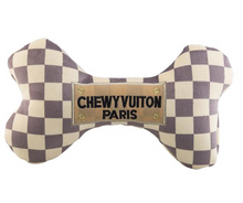 Load image into Gallery viewer, Checker Chewy Vuiton Bone Dog Toy