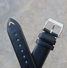 Load image into Gallery viewer, Minimally Stitched Vintage Style Calfskin Strap - Black