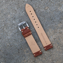 Load image into Gallery viewer, Minimally Stitched Vintage Style Calfskin Strap - Brown