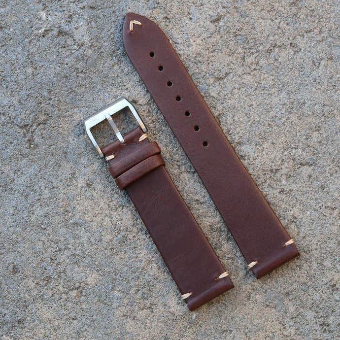 Minimally Stitched Vintage Style Calfskin Strap - Dark Brown
