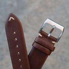 Load image into Gallery viewer, Minimally Stitched Vintage Style Calfskin Strap - Dark Brown