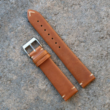 Load image into Gallery viewer, Minimally Stitched Vintage Style Calfskin Strap - Light Brown