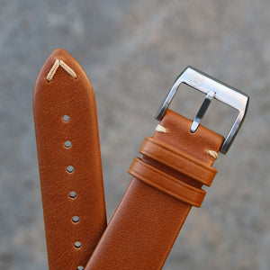 Minimally Stitched Vintage Style Calfskin Strap - Light Brown