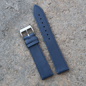 Fully Stitched Vintage Style Calfskin Strap - Blue