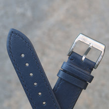 Load image into Gallery viewer, Fully Stitched Vintage Style Calfskin Strap - Blue