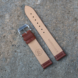 Fully Stitched Vintage Style Calfskin Strap - Brown