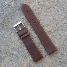 Load image into Gallery viewer, Fully Stitched Vintage Style Calfskin Strap - Dark Brown