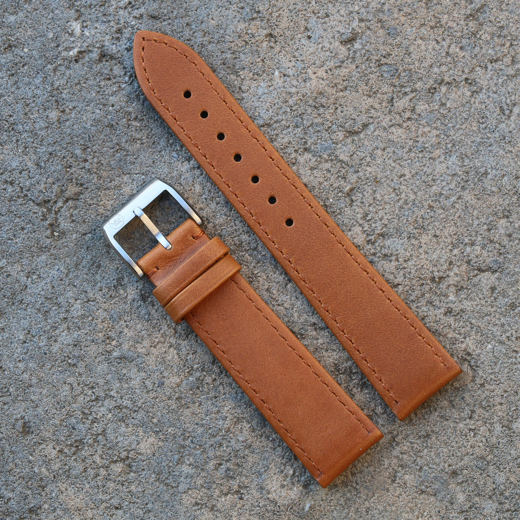 Fully Stitched Vintage Style Calfskin Strap - Light Brown