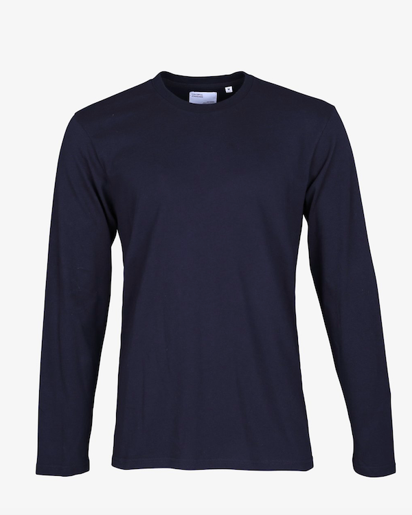 COLORFUL STANDARD MENS ORGANIC LONG SLEEVE T-SHIRT NAVY BLUE