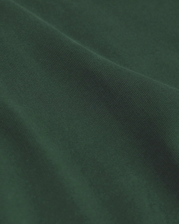 Classic organic crew sweatshirt emerald green close up