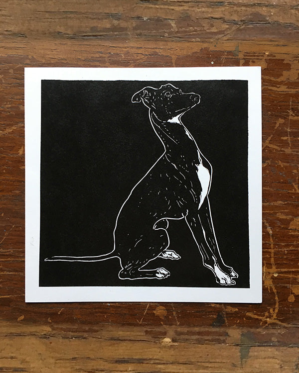 SARAH CEMMICK WHIPPET LINO CARD