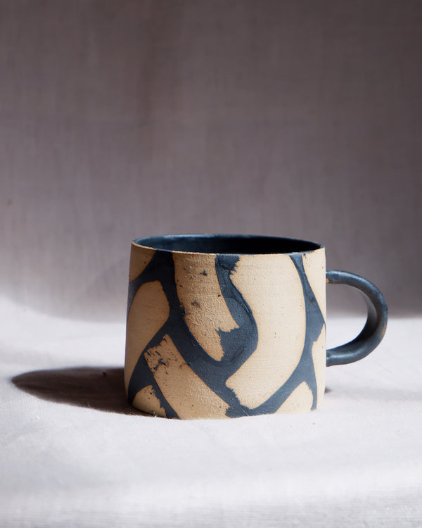 Paige Mitchell Handcrafted Black Brush Strokes Mug