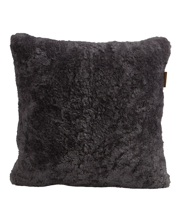 SHEPHERD SHEEPSKIN CUSHION 40CM X 40CM BLACK