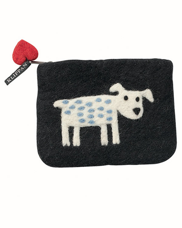 KLIPPAN SMALL FELTED-WOOL DOG PURSE
