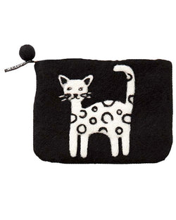 LITTLE FELTED WOOL CAT PURSE