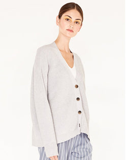PAISIE RIBBED KNIT CARDIGAN IN GREY