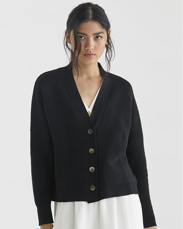 PAISIE RIBBED KNIT CARDIGAN IN BLACK