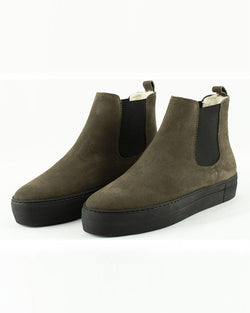 SHEPHERD OF SWEDEN AMBER SUEDE BOOTS IN OLIVE