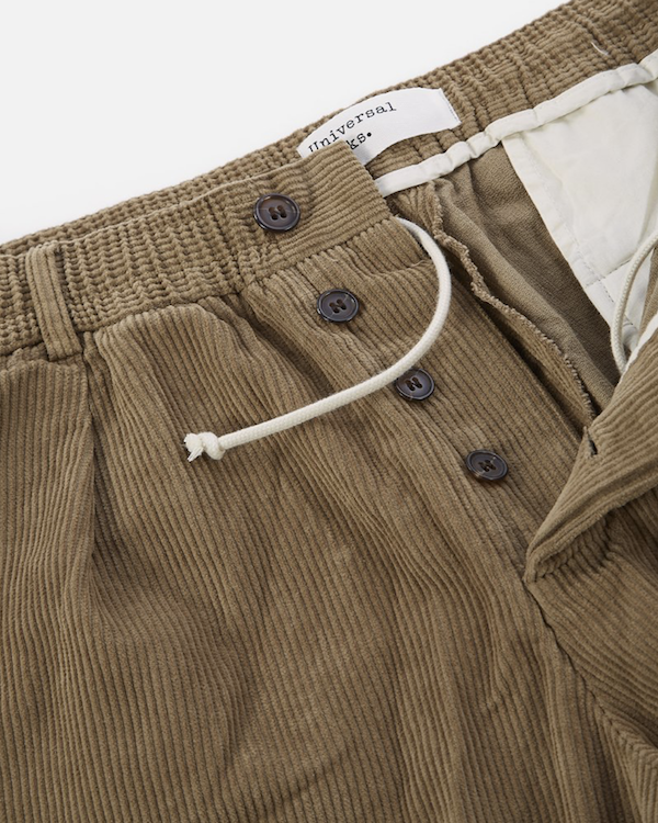 universal works taupe corduroy track pants button fly