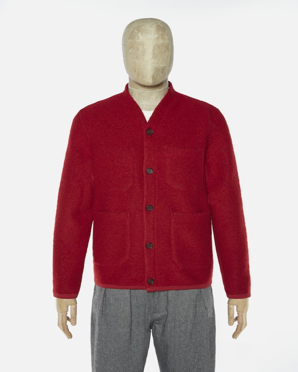 UNIVERSAL WORKS CARDIGAN IN RED WOOL FLEECE front