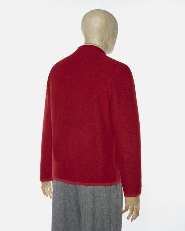 UNIVERSAL WORKS CARDIGAN IN RED WOOL FLEECE back