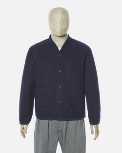 UNIVERSAL WORKS CARDIGAN IN NAVY WOOL FLEECE