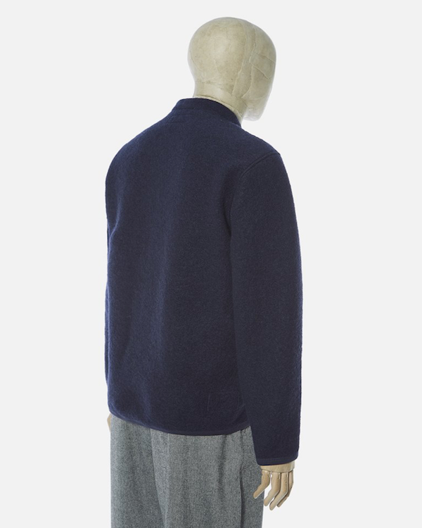 UNIVERSAL WORKS CARDIGAN IN NAVY WOOL FLEECE BACK