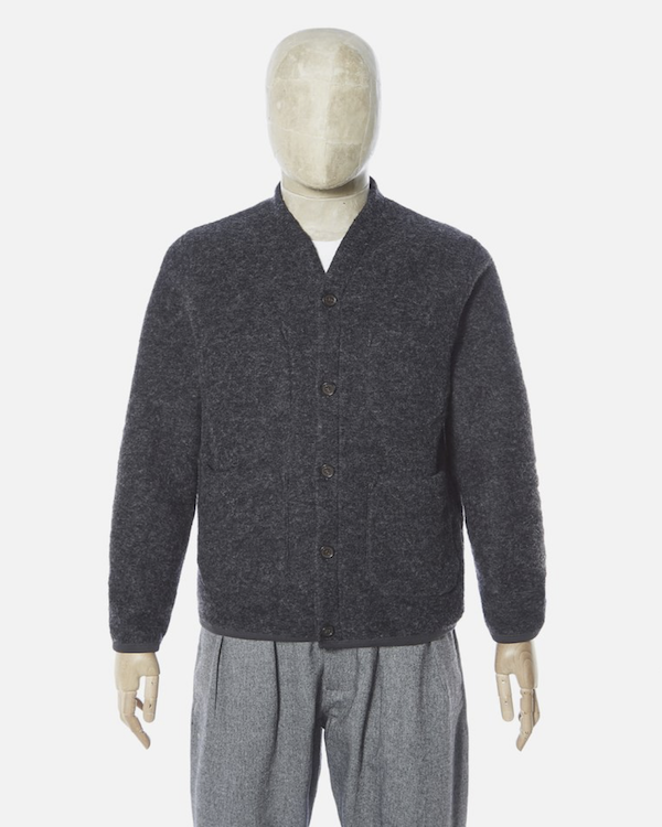 UNIVERSAL WORKS CARDIGAN IN CHARCOAL WOOL FLEECE FRONT