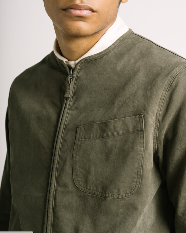 KESTIN - SKYE OVERSHIRT IN DARK OLIVE COTTON TWILL CLOSE UP