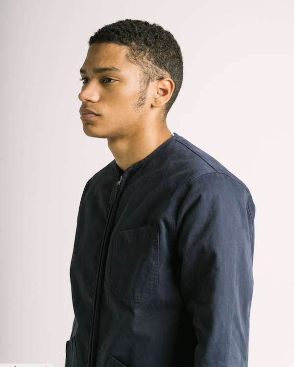 KESTIN - SKYE OVERSHIRT IN DARK NAVY COTTON TWILL close up
