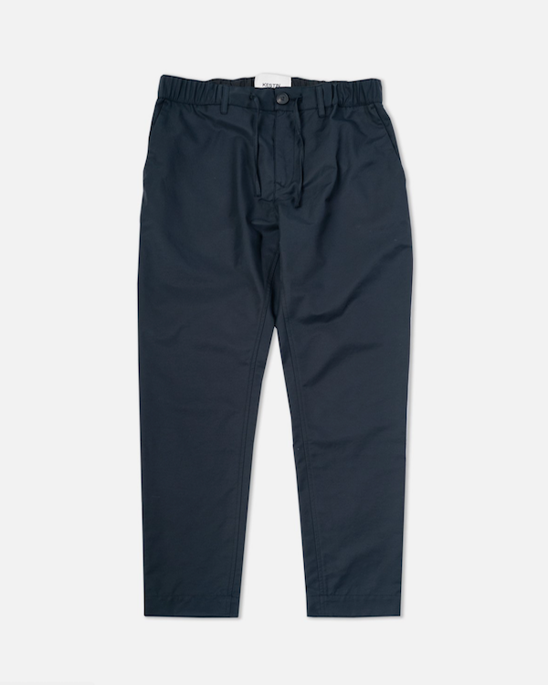 KESTIN - NAVY WATER REPELLENT TAPERED DRAWSTRING TROUSERS