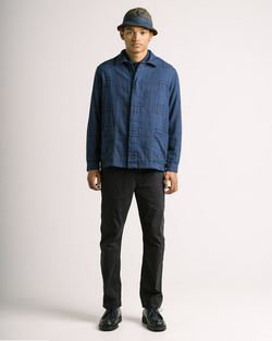 KESTIN - ARBROATH SHIRT JACKET IN NAVY PATCHWORK COTTON