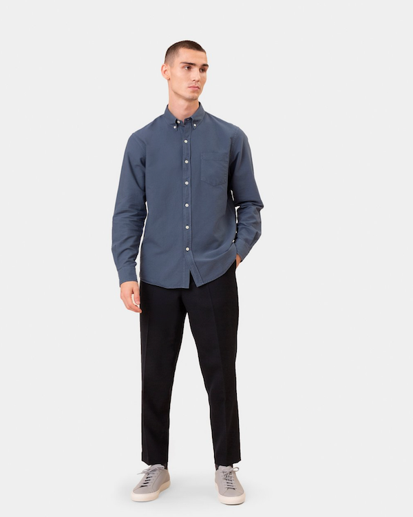 COLORFUL STANDARD ORGANIC BUTTON DOWN SHIRT - DEEP BLACK