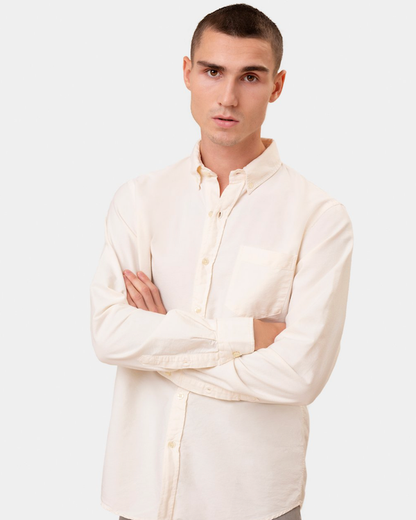 COLORFUL STANDARD ORGANIC BUTTON DOWN SHIRT - IVORY WHITE