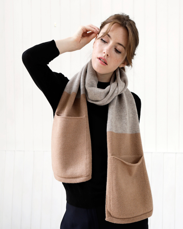 QUINTON CHADWICK POCKET SCARF IN CAMEL & TAUPE