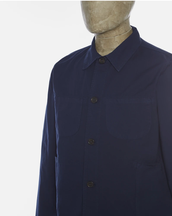 UNIVERSAL WORKS LUMBER JACKET IN NAVY LIGHT CANVAS