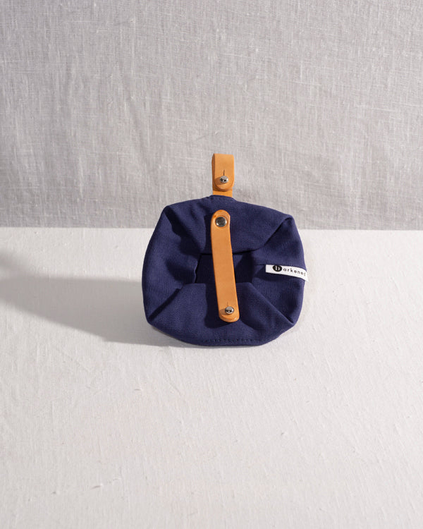 Barkened travel canvas water bowl handmade navy