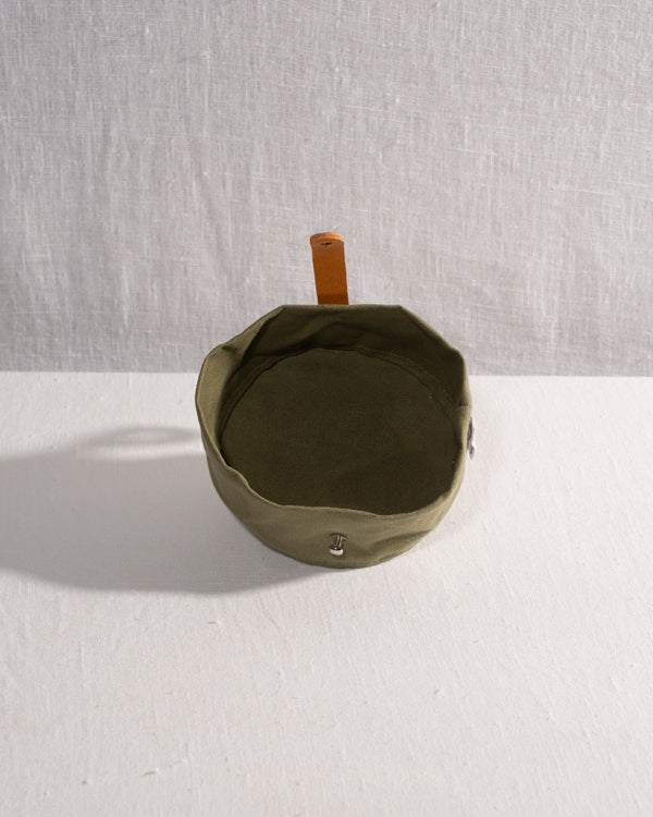 Barkened travel canvas water bowl handmade olive