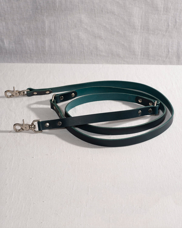 Buttero leather hands free dog lead blue