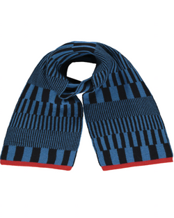 Quinton Chadwick Riley Scarf in black & blue with red edge
