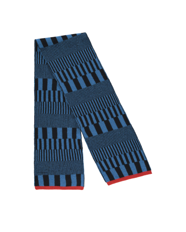 Quinton Chadwick Riley Scarf in black & blue with red edge unisex