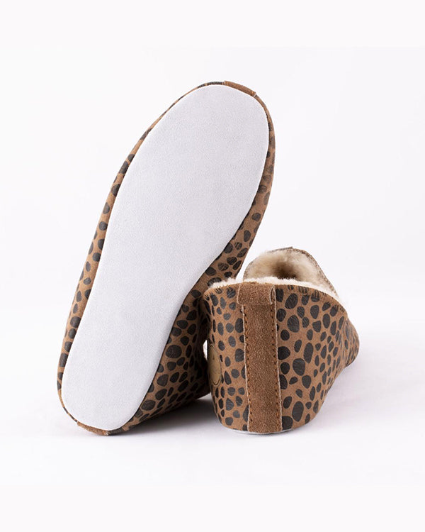 SHEPHERD LINA SHEEPSKIN LEOPARD SLIPPERS
