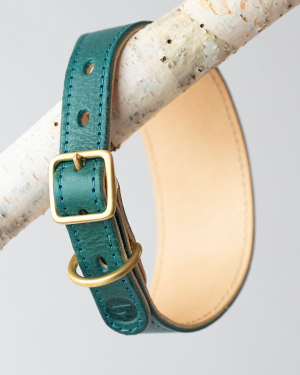 BARKENED LUXURY LEATHER TWO-TONE DOG COLLAR