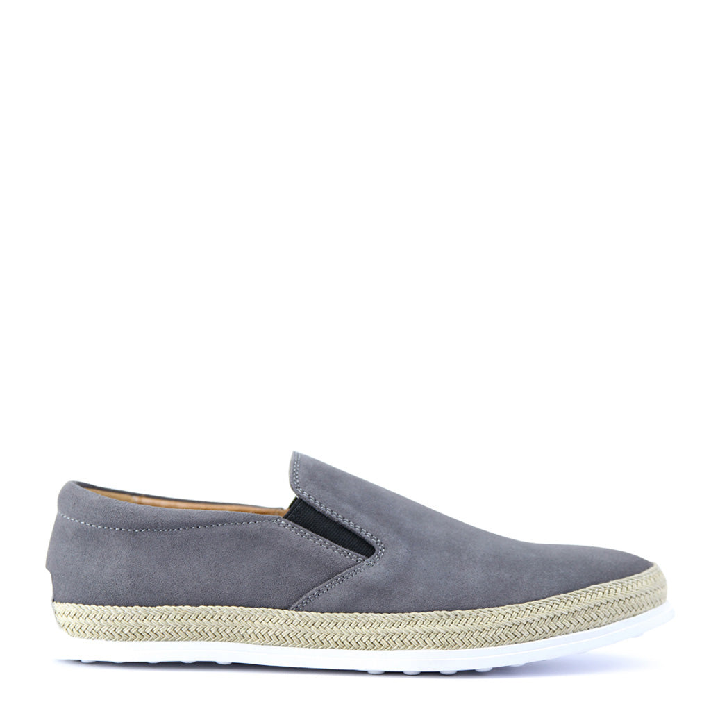 Batsanis Arden Grey Suede Mens Casual Leather Slip On Shoe