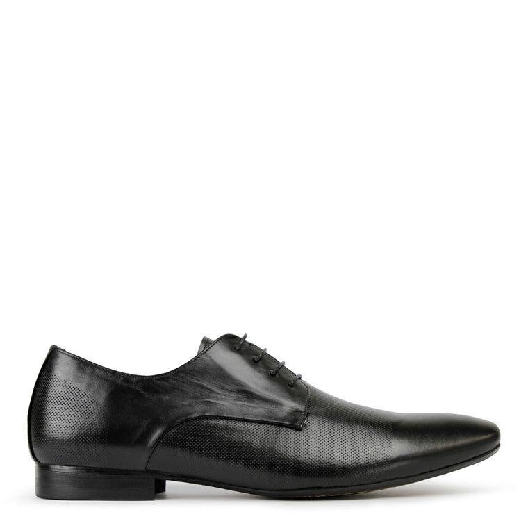 Batsanis Bruce Black Leather Lace Up Mens Shoes