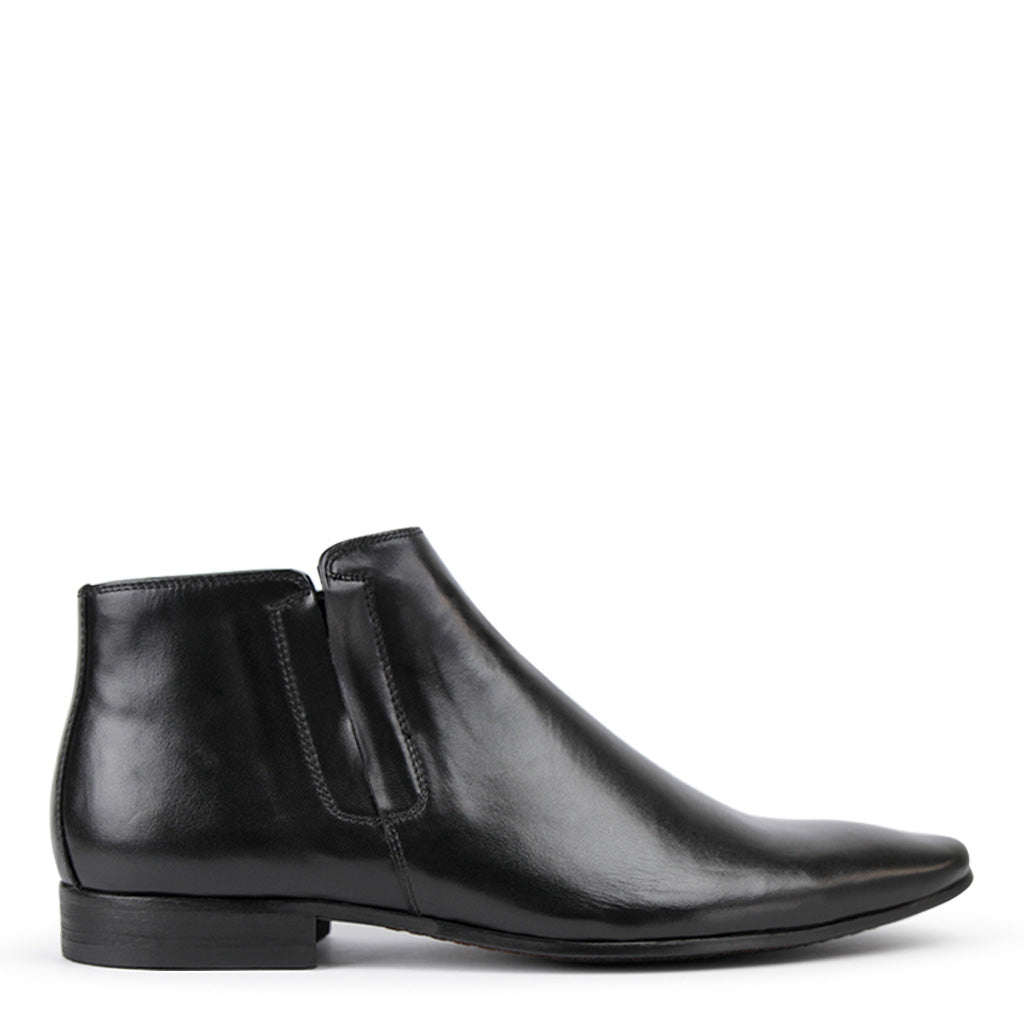 Mens Boots Batsanis Candidate Black Leather Slip On
