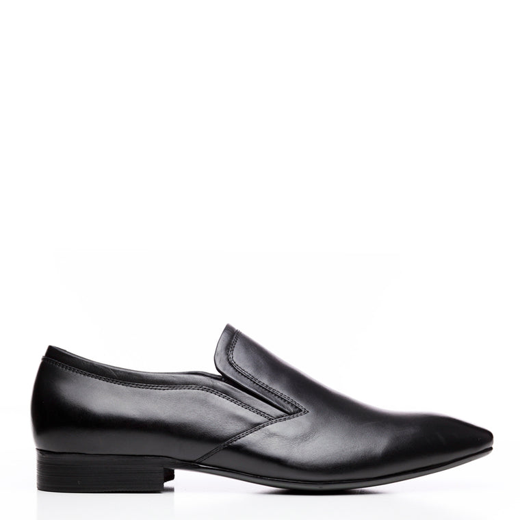 Batsanis Carson Black Mens Leather Slip On Shoe